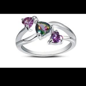 Jewelry - Purple hearts ring- size 6.
